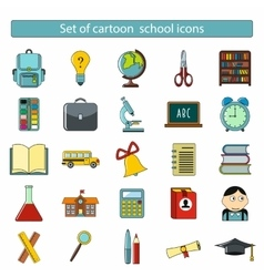 Set of cartoon school icons vector