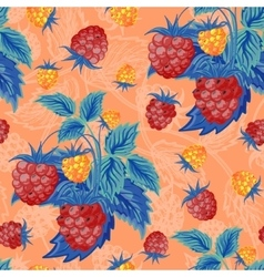 Seamless pattern with red and orange raspberries vector