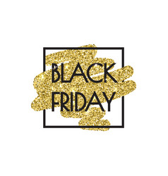 Black friday sale poster with shiny gold glitter vector