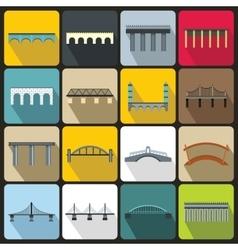 Bridge set icons flat style vector image vector image