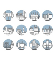 Cute cartoon hand drawn doodle factory set vector image