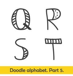 Cute hand drawn alphabet doodle letters Q-T vector image