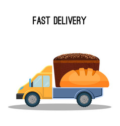 fast delivery poster with black and white bread in vector image