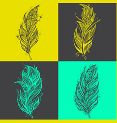 feather icons set of logo design templates vector image