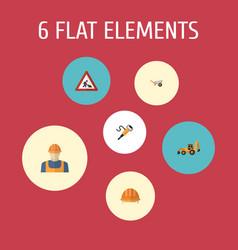 Flat icons pneumatic worker handcart vector