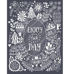 Floral card design in chalk style flowers and vector