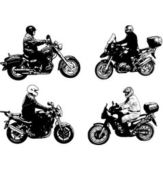 four sketch motorcyclists vector image