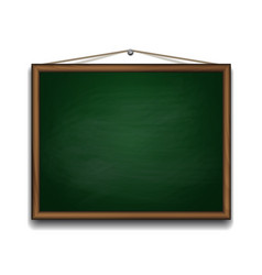 Green chalkboard in wooden frame vector image