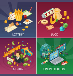 lottery concept icons set vector image vector image