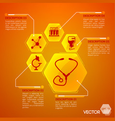 medicine and health orange poster vector image vector image