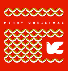 Merry christmas greeting card with flying dove vector
