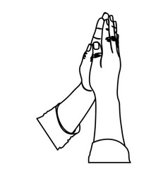 Monochrome silhouette of hands in position of pray vector