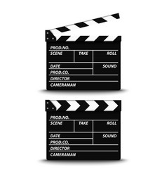 open and closed film flap on white background vector image vector image