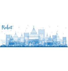 Outline rabat skyline with blue buildings vector