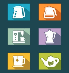 set icons for tea and coffee vector image