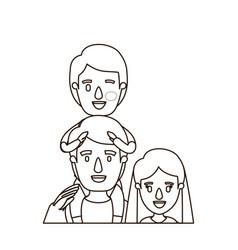 Sketch contour caricature half body family mother vector