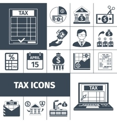 Tax and fees flat icon set vector
