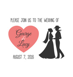 Wedding invitation with silhouettes of couple vector