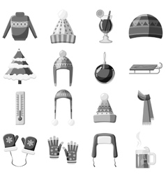 Winter clothes icons set gray monochrome style vector