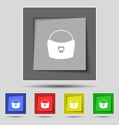 woman hand bag icon sign on original five colored vector image vector image