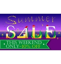 Summer sale this weekend only ten percents off vector