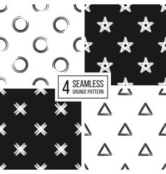 Set of seamless pattern grunge polka dots vector image
