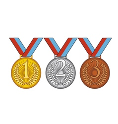 Set of gold silver and bronze medal vector image