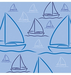 Hand drawn sailing boat pattern in format vector