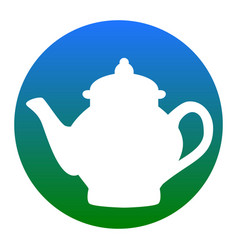 Tea maker sign  white icon in bluish vector