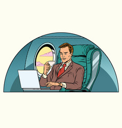 Businessman working in the business class cabin vector