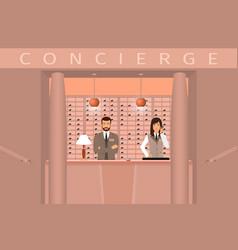 Hotel concierge service front view of concierge vector