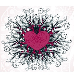 Abstract heart with floral elements vector image