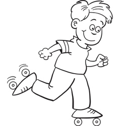 Cartoon roller skate boy vector