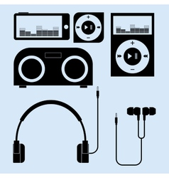 Headphones and portable speakers of different vector