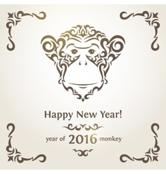 Greeting new year card with monkey - symbol of the vector