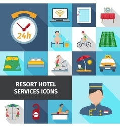 Hotel services flat icon set vector