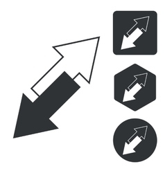 Opposite arrows icon set monochrome vector