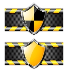 Set of gold shields over steel dotted backgrounds vector