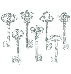 Set of antique vintage keys in grunge style vector