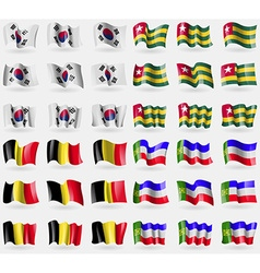 Korea south togo belgium khakassia set of 36 flags vector