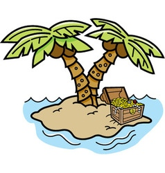 Cartoon island with palm trees vector