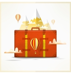 Travel to mountains background travelling and vector