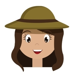 Avatar girl wearing green hat graphic vector