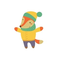 Fox boy in yellow warm coat childish vector