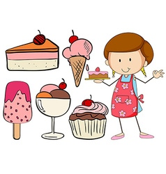 Bakery set with baker and desserts vector