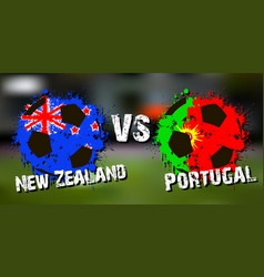 Banner football match new zealand vs portugal vector