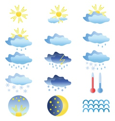 color weather icons vector image vector image