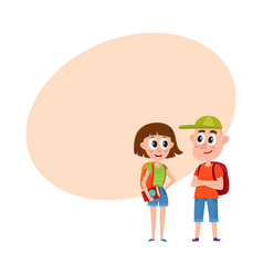 Couple of tourists man and woman with backpacks vector