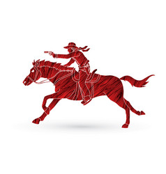 cowboy riding horseaiming a gun vector image vector image