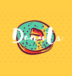 Donut poster with cool design vector
